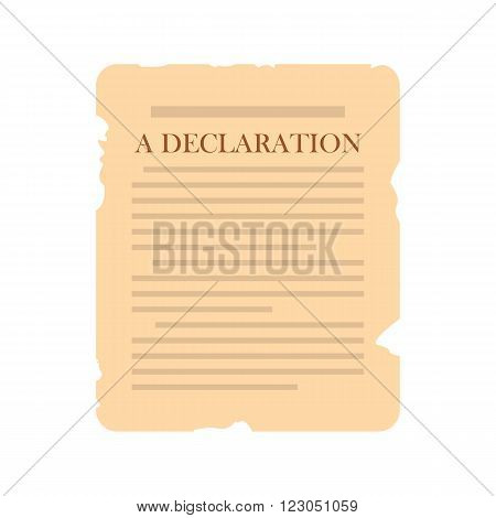 Declaration icon in flat style isolated on white background