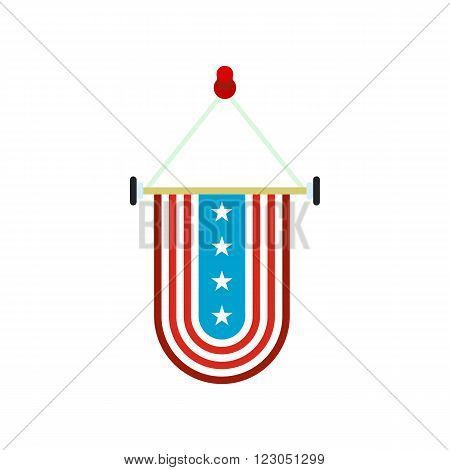 Pennant with the national flag of USA icon in flat style isolated on white background