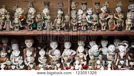 The Vietnamese traditional water puppets of the theater in Hanoi, Vietnam. Each puppet represents one character in the normal life in the past.