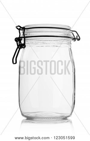 Empty glass jar with lid. For storage. On a white background.