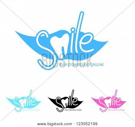 Dental, stomatology clinic logo template with smile and tooth icon. Vector illustration in eps8 format.
