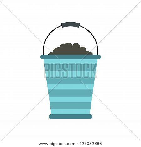 Bucket of turf icon in flat style isolated on white background