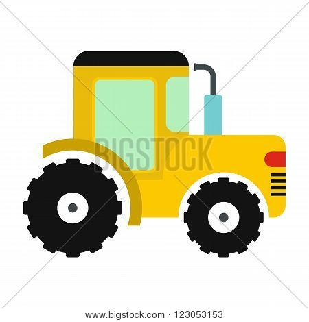 Yellow tractor icon in flat style isolated on white background