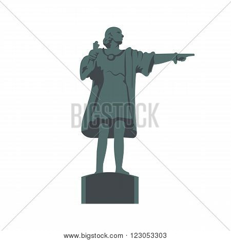 Cristobal Colon sculpture icon in flat style isolated on white background