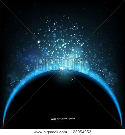 Abstract vector background. Eclipse sun in galaxy,  cosmos illustration