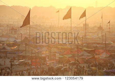 ALLAHABAD, INDIA - FEBRUARY 08, 2013: Aerial panorama view of Maha Kumbh Mela festival camp, the world's largest religious gathering.