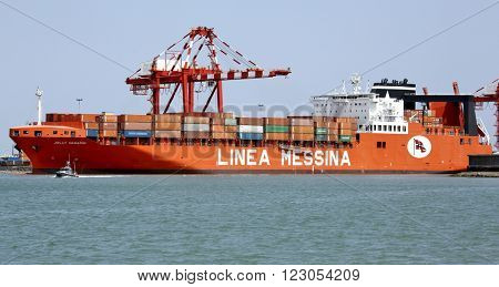 PORT OF DJIBOUTI, REPUBLIC OF DJIBOUTI FEBRUARY 07, 2016: Jolly Vanadio ro-ro cargo container ship of Linea Messina. It has 240m length overall and beam of 38m, gross tonnage is 51055 t