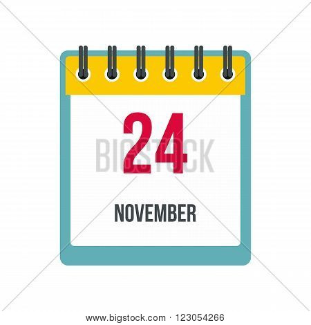 Calendar november 24 icon in flat style isolated on white background