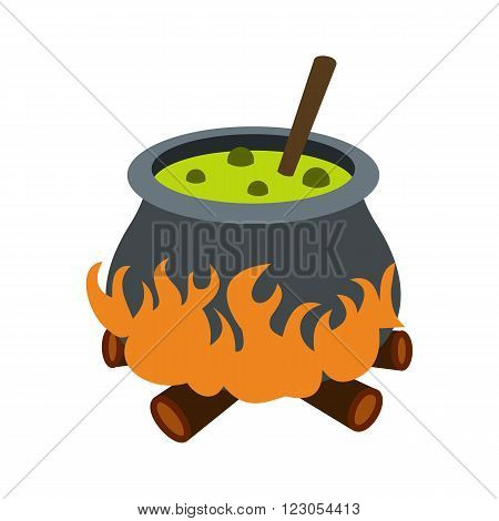 Cauldron with green potion icon in flat style isolated on white background