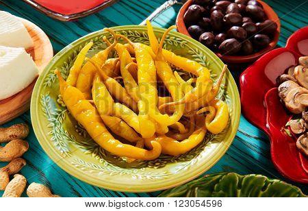 Tapas pickles chili pepper vinegar from Mediterranean Spain