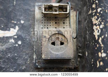 Broken electric panel after an electric problem or crisis