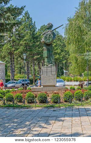 CETINJE, MONTENEGRO - AUGUST 11, 2015: The statue of the Ivan Crnojevic hero of Montenegro, on the Dvorski square.