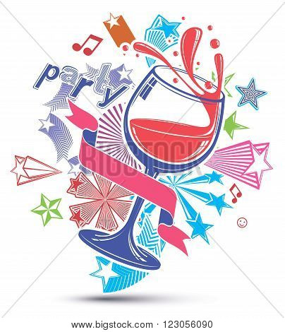 Celebrative Leisure Backdrop With Musical Notes, Glass Goblet With Wine And Decorative Stars. Graphi