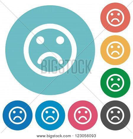 Flat sad emoticon icon set on round color background.