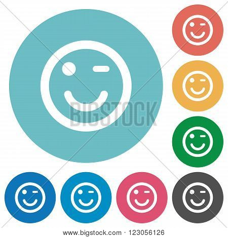 Flat winking emoticon icon set on round color background.