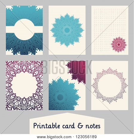 Set of creative cards with mandalas design. Template for scrapbooking wrapping congratulations invitations printable card planner wedding invitation notebooks diary. Vector