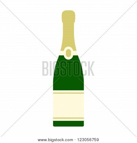 Champagne bottle icon in flat style isolated on white background