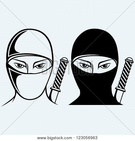 Ninja assassin. Isolated on blue background. Vector