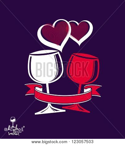 Two Wineglasses Vector Artistic Illustration – Wedding Couple Conceptual Graphic Object. Celebration