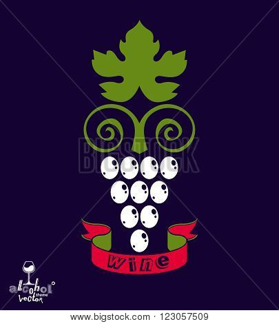 Stylized Grape Vine Vector Illustration. Winery Symbol Best For Use In Advertising And Graphic Desig
