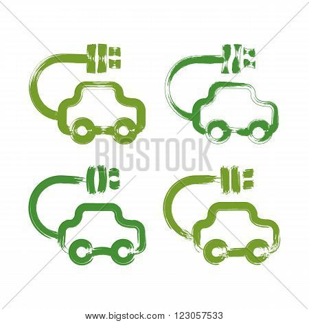 Set of hand-drawn green eco car icons collection of illustrated brush drawing electric powered cars hand-painted ecology automobiles isolated on white background.