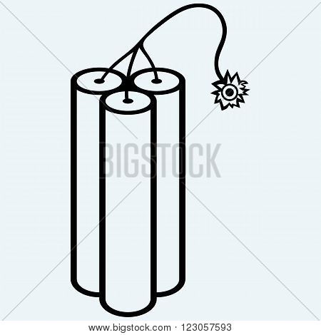 Dynamite with burning wick. Isolated on blue background. Vector