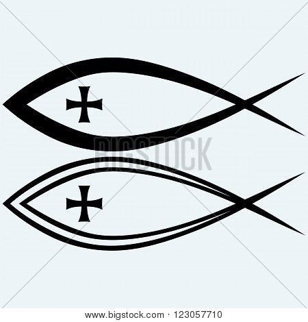 Christian fish symbol with cross. Isolated on blue background. Vector