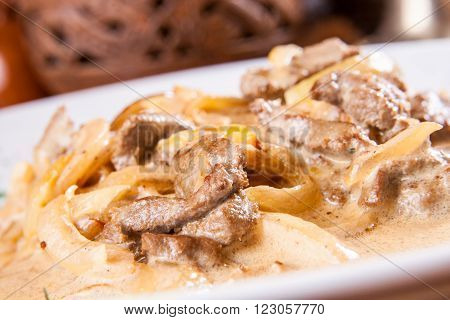 Beef Stroganoff with onion and sour cream