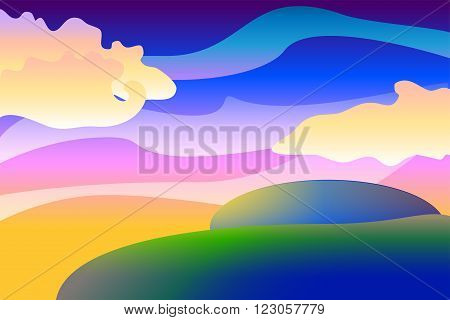 Cartoon unearthly landscape vector background, colorful illustration with spheres and clouds, vector wallpapers
