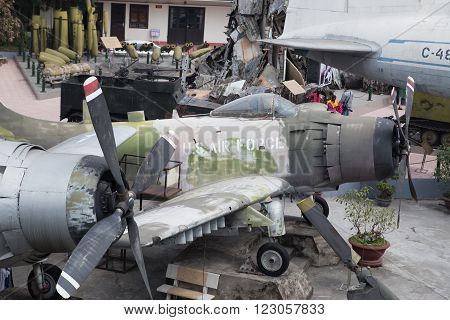 Hanoi, Vietnam - Feb 28, 2016: Old US shot down jet fighter and B52 bomber during Vietnam War being exhibited outdoor at Vietnam Military History Museum in Hanoi capital.