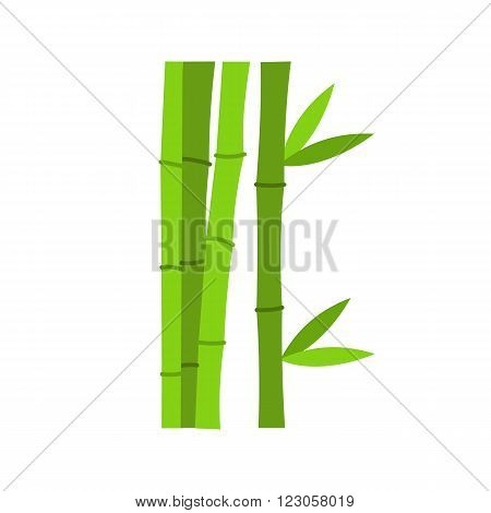 Green bamboo stems icon in flat style isolated on white background
