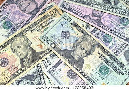 Background of Close up dollars different denomination
