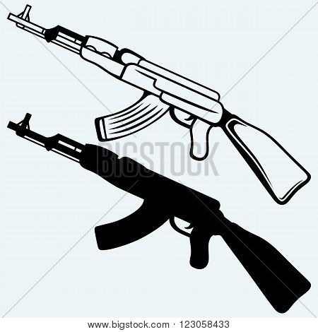 Assault rifle ak47. Isolated on blue background. Vector silhouettes