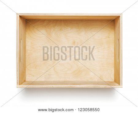 Empty wooden box on white background
