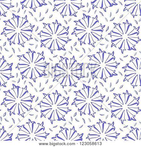 cornflowers flowers seamless pattern on white background vector