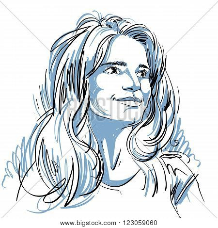 Portrait of delicate bemused good-looking woman black and white vector drawing. Emotional expressions idea image.