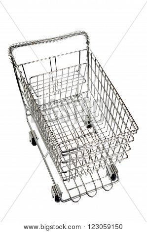 Shopping cart isolated on white.  Over view.