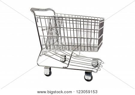 Shopping cart isolated on white.  Side view.
