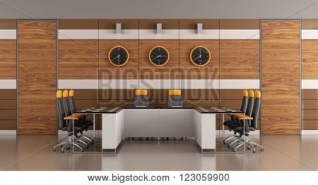 Contemporary boardroom with woden panelingtwo doors and meeting table - 3D Rendering