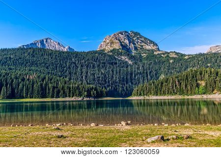 Photo of the glacial Black lake located on mount Durmitor, nature in Montenegro continental part.