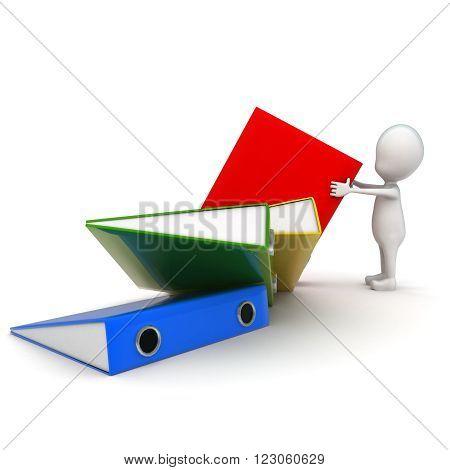 3D Man Arranging Files Concept