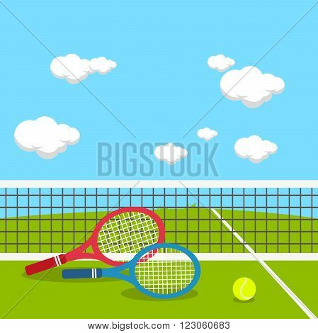 Vector illustration of rackets and tennis ball at the tennis court.