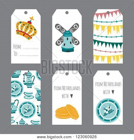 Netherlands vector set of tag templates with traditional Holland elements. Travel touristic illustration. For greeting cards, invitations, souvenirs and gifts decoration, sales design, scrapbooking.