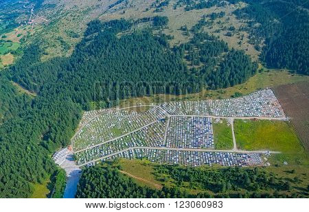 Helicopter aerial view of the old cemetery of the city Pljevlja.