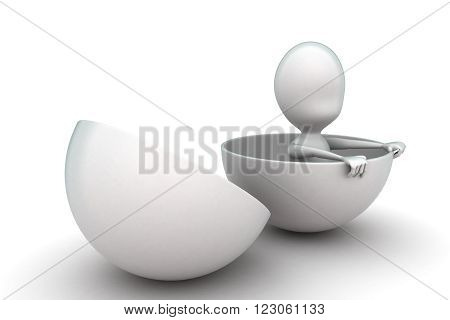 3D Man Coming Out From A Hemisphere  Or Opened Sphere Concept