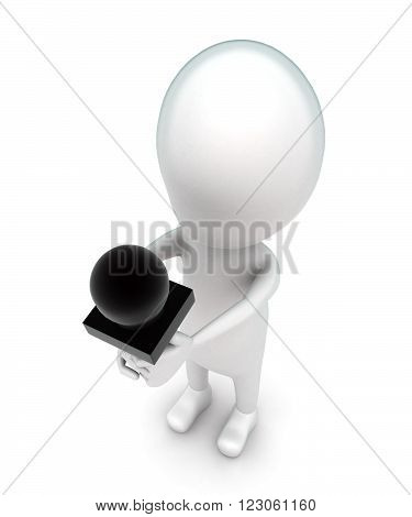 3D Man Holding Mic In Hand Concept