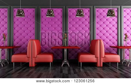 Red and purple fashion cafe-bar - 3D rendering