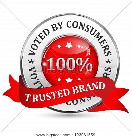 Trusted brand. Voted by consumers. - red glossy shiny icon / button with ribbon.
