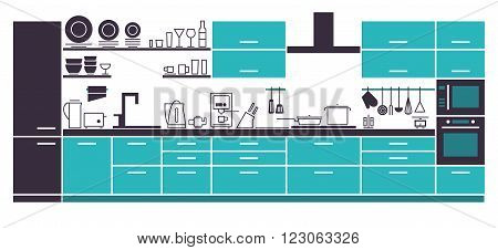 Vector Illustration of Modern Kitchen Cabinets and Household Equipment in Line Style for Your Design Banner or Flyer.