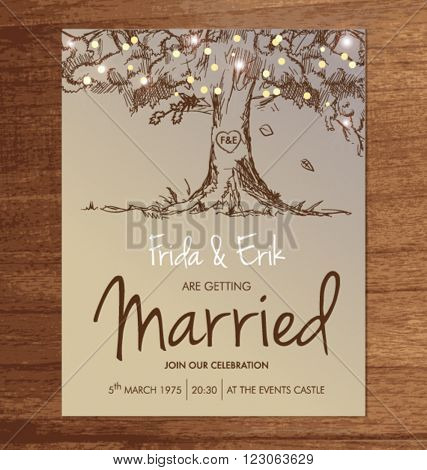 WEDDING INVITATION TEMPLATE MOCK UP DESIGN LAYOUT. Editable vector illustration file.
